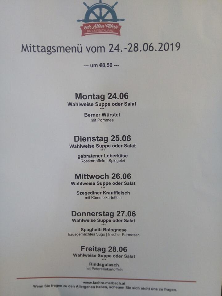 Mittagsmenü für die Woche 24. - 28. Juni 2019