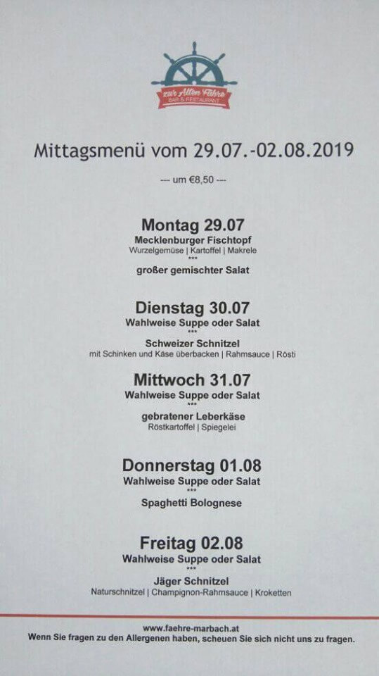 Mittagsmenü 29. Juli - 02. August 2019