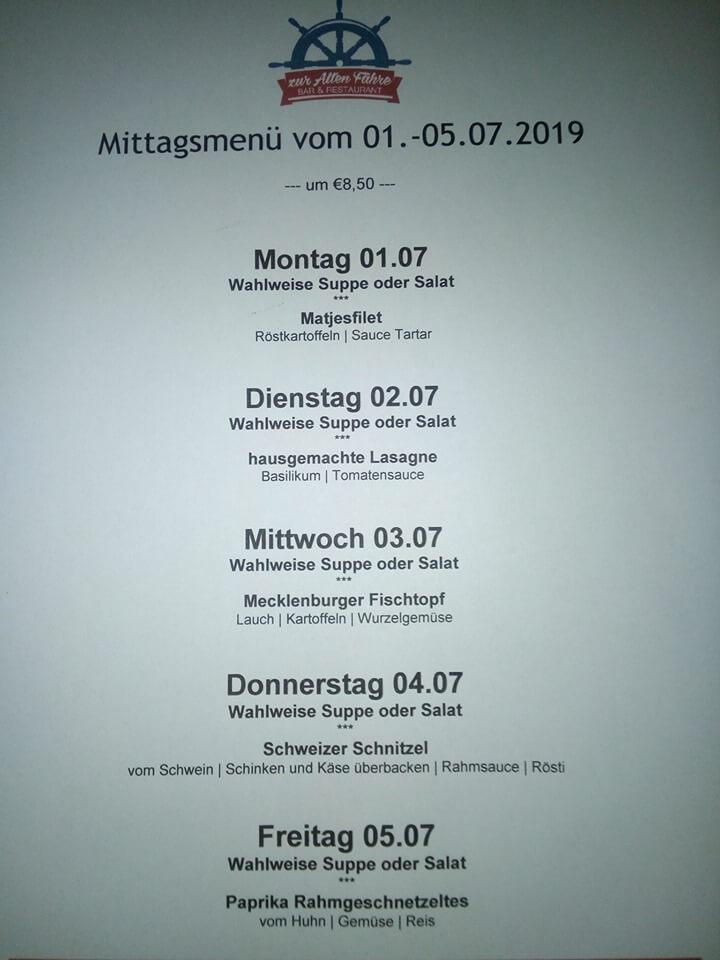 Mittags-Menü für die Woche 01.Juli -05. Juli 2019
