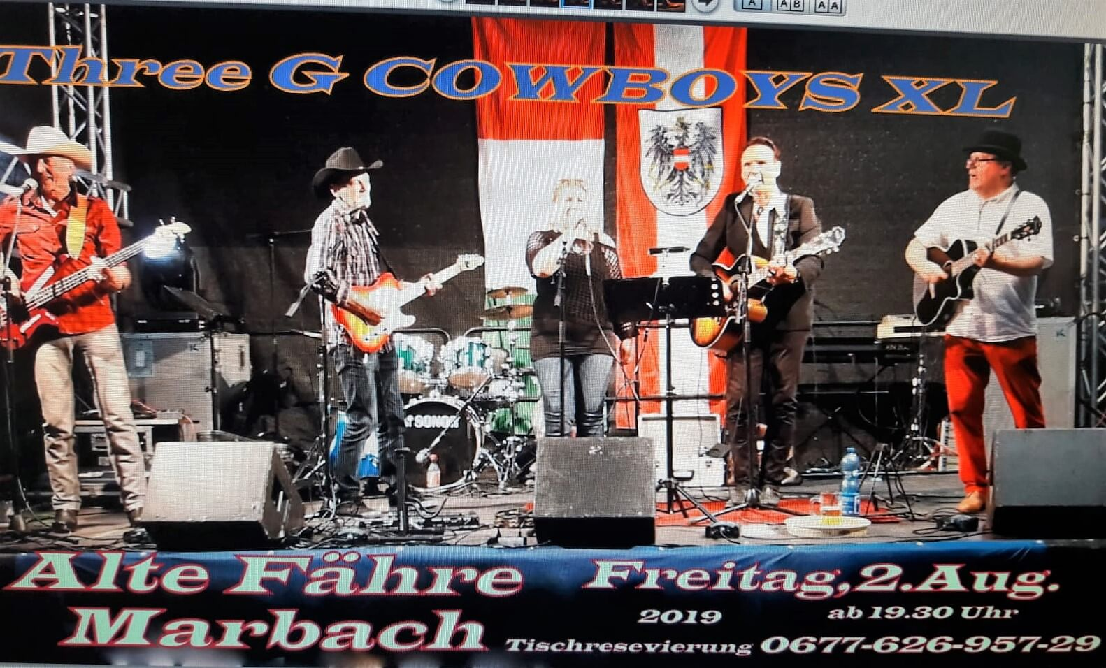 "Live Musik mit den Three ""G"" Cowboys am                     02. August 2019"