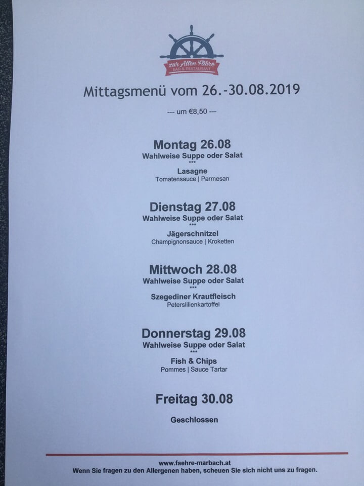 Mittagsmenü 26. August - 30. August 2019