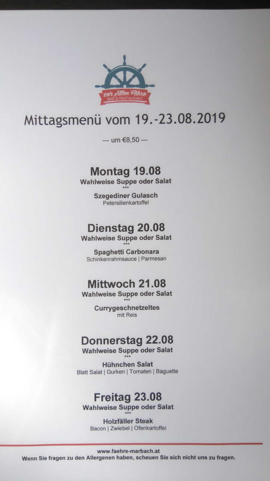 Mittagsmenü 19 August - 23 August 2019