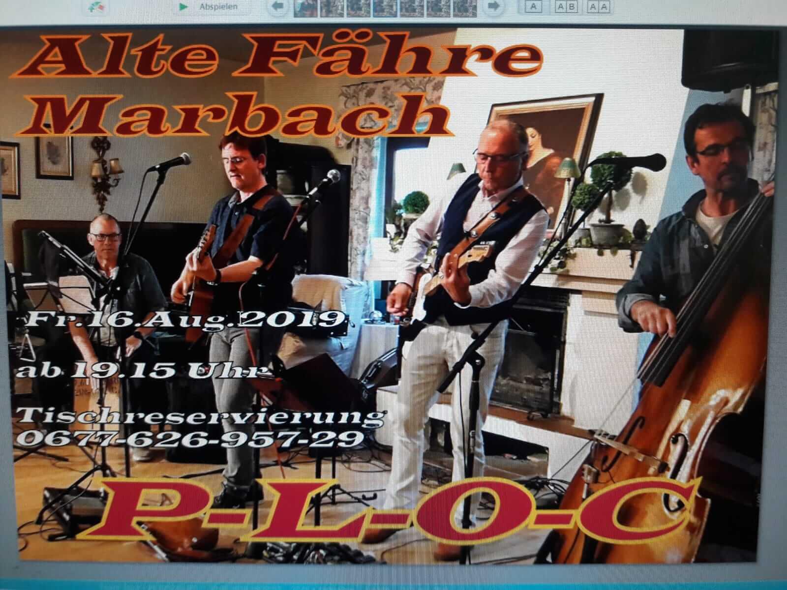 """Live Musik mit der Band """"PLOC"""" am 16 August 2019"""